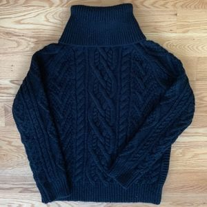 Polo Heavy Black Cableknit Turtleneck Sweater